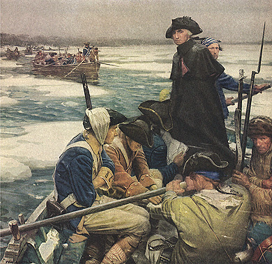 Painting of George Washington  crossing the  Delaware River