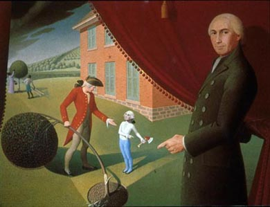 Painting of George Washington looking on as a younger  George was repriminded for chopping down the  cherry tree