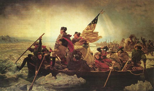 Small version of Lutze painting of  George Washington Crossing the Delaware River